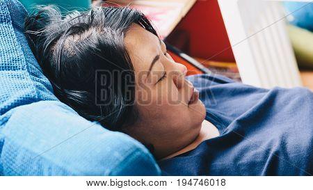 Asian Women 40S White Skin Thinking On Sofa