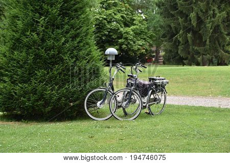 Two bycicles parked near bushes in park.