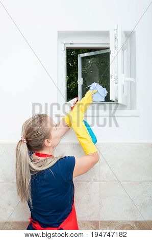 Young Housewife Wiping The Window