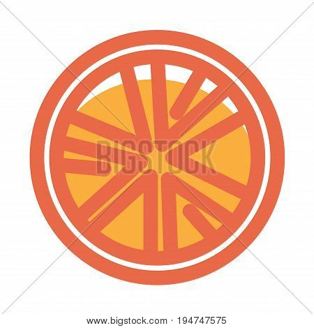 Orange slice isolated on white illustration in graphic design. Hand drawn piece of sweet seasonal fruit in red, yellow colors vector poster in flat style. Healthy eating and dieting template.