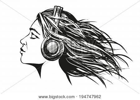 beautiful young girl listening to music on headphones hand drawn vector illustration