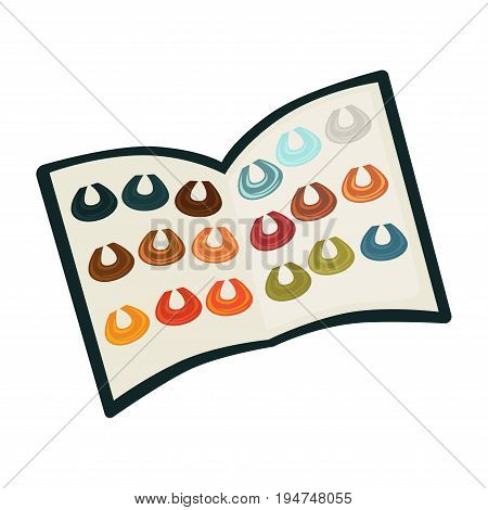 Hair coloring dye color palette with hairs colors samples. Vector flat icon for woman hairdresser salon or fashion style professional coiffeur and product package instruction