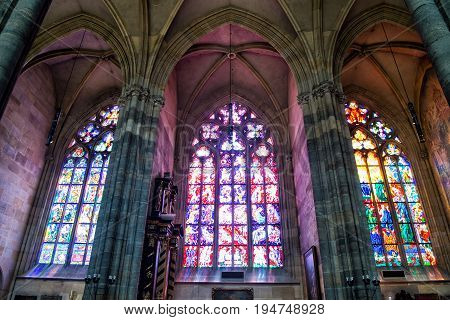 Interior Of St.vitus Cathedral In Prague, Czech Republic