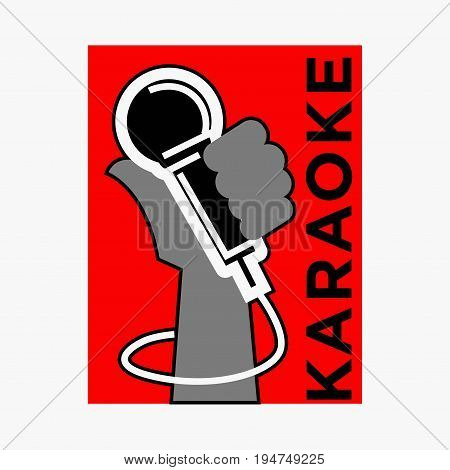 Karaoke club logo template of microphone in hand. Vector label for party bar or disco nightclub concert event poster