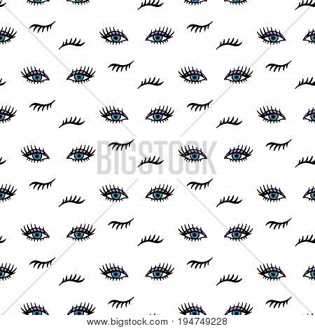 Vector hand drawn seamless pattern with open and winking eyes and lashes isolated on white. Fashion background
