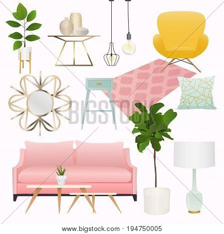 Living room. Furniture and Home Accessories including sofas love seat armchairs coffee table side tables and home decoration.