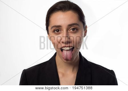 cool business woman showing tongue white background