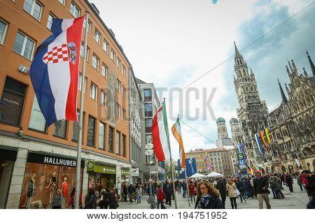 People At Marienplatz In Munich