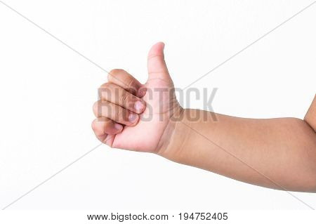 Child's Hand Showing Thumb Up, Like, Isolated On A White Background