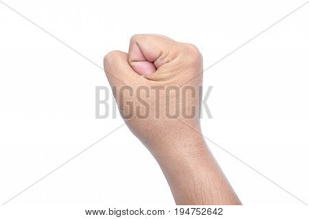 The Man's Hand Is A Symbol Of Victory, Close Up