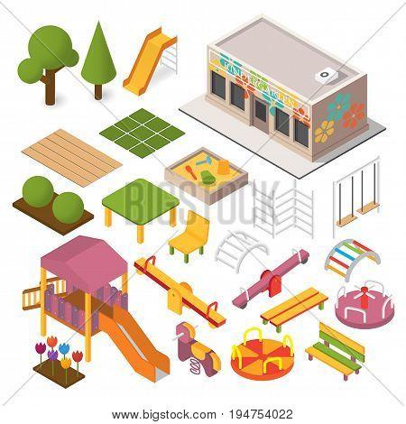 Vector isometric kindergarten preschool. Kids playground. 3d building icon set