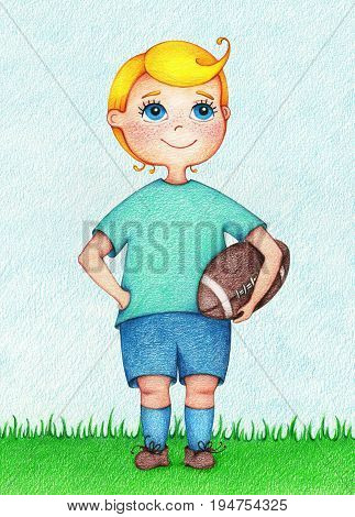 hands drawn illustration of boy American Football player by the color pencils. Character design. Creative people professions collection