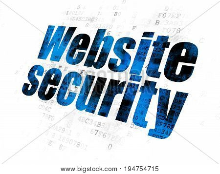 Protection concept: Pixelated blue text Website Security on Digital background