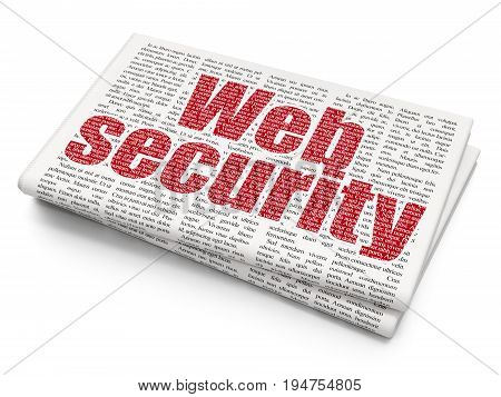 Safety concept: Pixelated red text Web Security on Newspaper background, 3D rendering