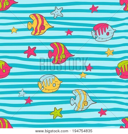 Vector seamless summer pattern with color tropical fishes and sea stars. Bright cute cartoon style. Striped background.