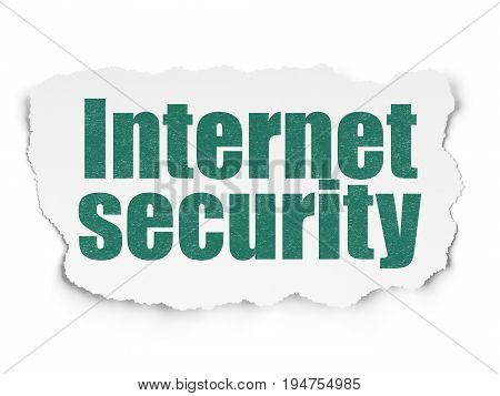 Privacy concept: Painted green text Internet Security on Torn Paper background with  Tag Cloud