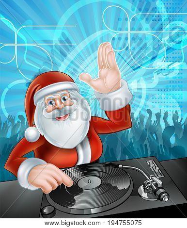 Cartoon Santa Christmas Party DJ disco illustration