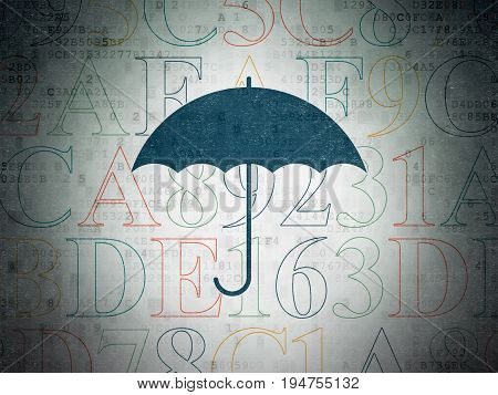 Privacy concept: Painted blue Umbrella icon on Digital Data Paper background with  Hexadecimal Code