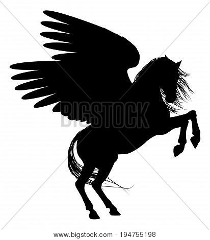 Pegasus mythical winged horse in Silhouette illustration