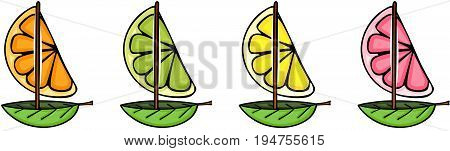 Scalable vectorial image representing a fresh orange, grapefruit, lemon and lime boat shape, isolated on white.