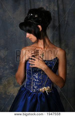 Beauty Girl In Blue Dress
