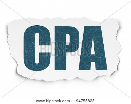Business concept: Painted blue text CPA on Torn Paper background with Scheme Of Binary Code