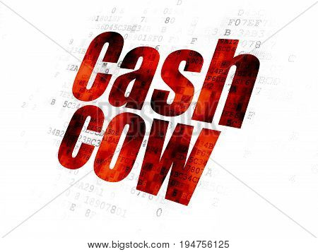 Finance concept: Pixelated red text Cash Cow on Digital background