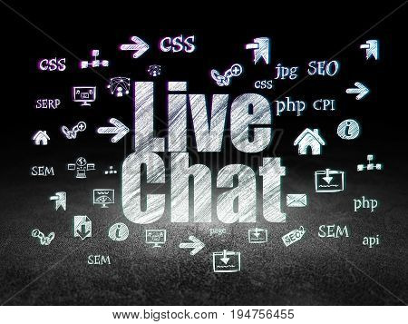 Web design concept: Glowing text Live Chat,  Hand Drawn Site Development Icons in grunge dark room with Dirty Floor, black background