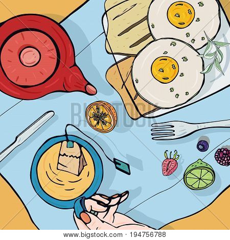 Breakfast top view. Square illustration with luncheon. Healthy, fresh brunch tea, sandwiches, eggs and fruits. Colorful hand drawn vector illustration