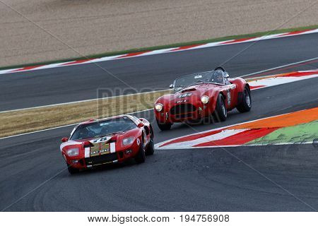 Magny-cours, France, June 30, 2017 : Ford Gt40 And Ac Cobra At The Chicane. The First French Histori