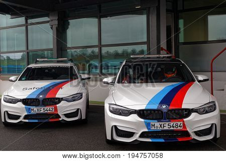Magny-cours, France, July 1, 2017 : Safety Cars. The First French Historic Grand Prix Takes Place In