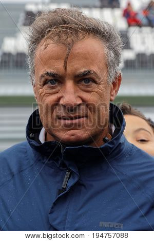 Magny-cours, France, July 1, 2017 : Ex French F1 Driver Jean Alesi Portrait. The First French Histor