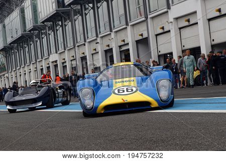 Magny-cours, France, July 2, 2017 : Lola T70 Starts. The First French Historic Grand Prix Takes Plac