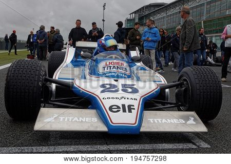 Magny-cours, France, July 2, 2017 : Ligier On The Grid. The First French Historic Grand Prix Takes P