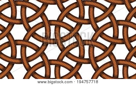 Vector seamless decorative pattern of interlaced brown leather braided cords