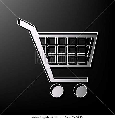 Shopping cart sign. Vector. Gray 3d printed icon on black background.