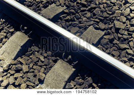 Railroad Tracks Near An Old Small Railroad Station, Transportation Background