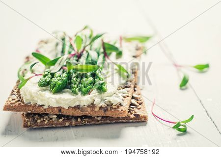 Closeup Of Sandwich With Asparagus And Fromage Cheese