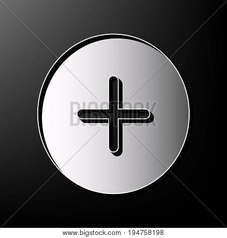 Positive symbol plus sign. Vector. Gray 3d printed icon on black background.