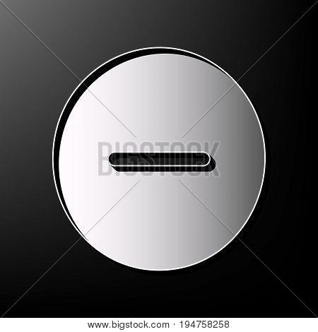 Negative symbol illustration. Minus sign. Vector. Gray 3d printed icon on black background.
