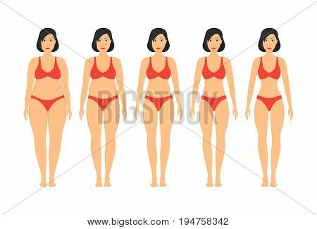 Cartoon Women Slimming Stages Set Fat Thin Figure Shape Progress Fitness and Diet Flat Style Design. Vector illustration