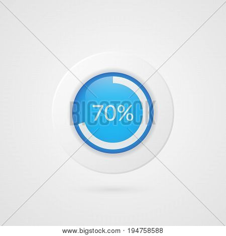70 percent pie chart. Percentage vector infographics. Seventy Circle diagram isolated symbol. Business illustration icon for marketing presentation project planning download report web