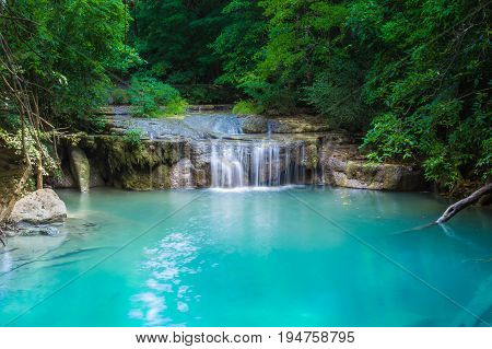 Beautiful natural waterfall Attractions in Thailand Erawan Waterfall