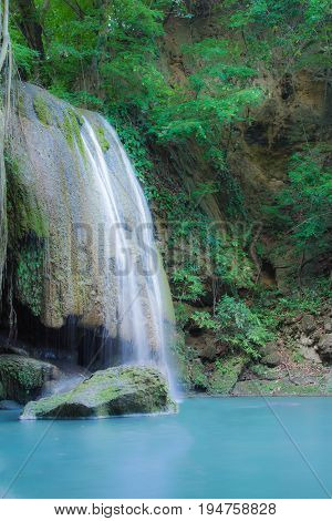 Beautiful natural waterfall Attractions in Thailand Erawan Waterfall Vertical