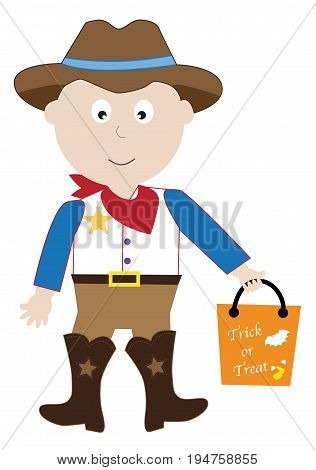 Happy Halloween Cowboy Trick or Treater with Candy