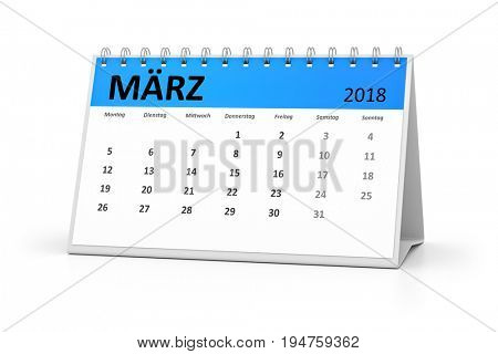 3d rendering of a german language table calendar for your events 2018 march