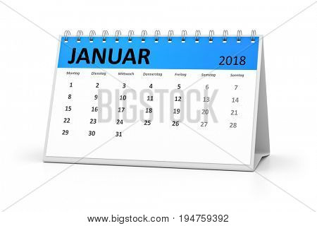 3d rendering of a german language table calendar for your events 2018 january