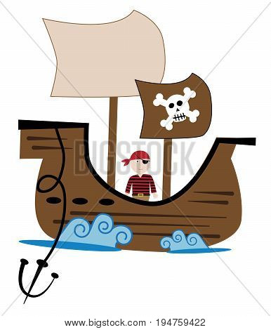 Boy Pirate Ship with Sails on the Ocean Waves