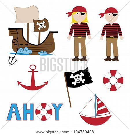 Boy Girl Pirate Items Sailboat Ship Anchor