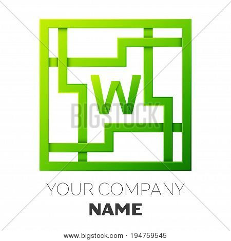 Realistic Letter W vector logo symbol in the colorful square maze on white background. Shadow Breaks. Vector template for your design